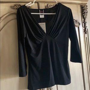 Wrapper black 3/4 blouse